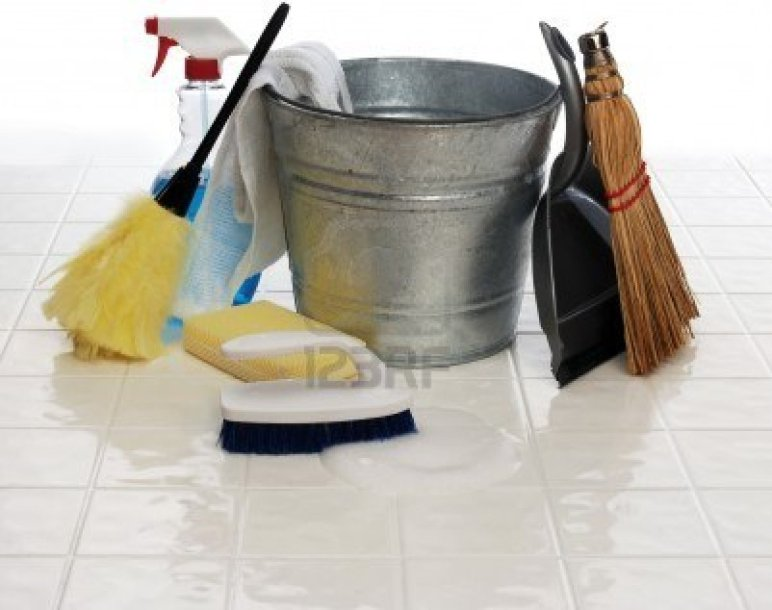 7052857-cleaning-supplies-spray-bottle-broom-duster-wash-cloth-scrub-brush-bucket-dust-pan-on-white-tiles