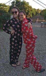 liz and rachael in pj's