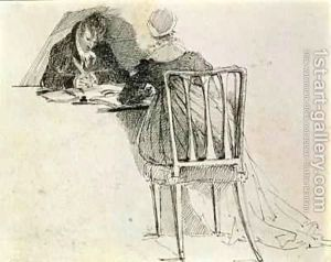 Man-And-Woman-Writing-At-A-Table