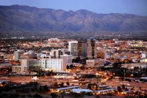 Tucson skyline after dark