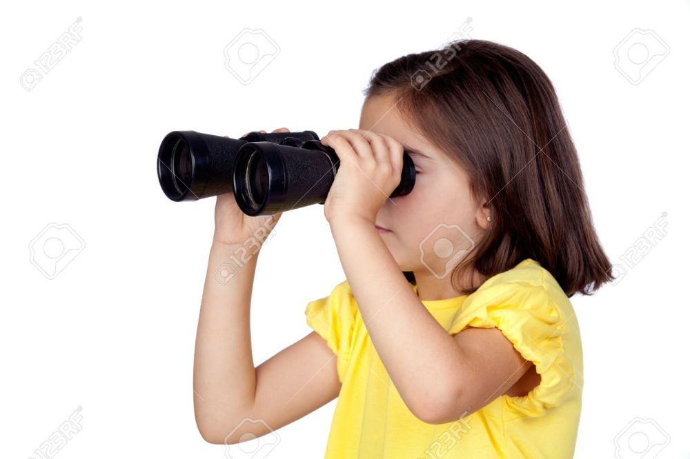 9696173-brunette-little-girl-looking-through-binoculars-isolated-on-a-over-white-background-stock-photo