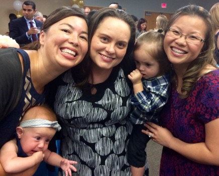 Sarah with babies and friends