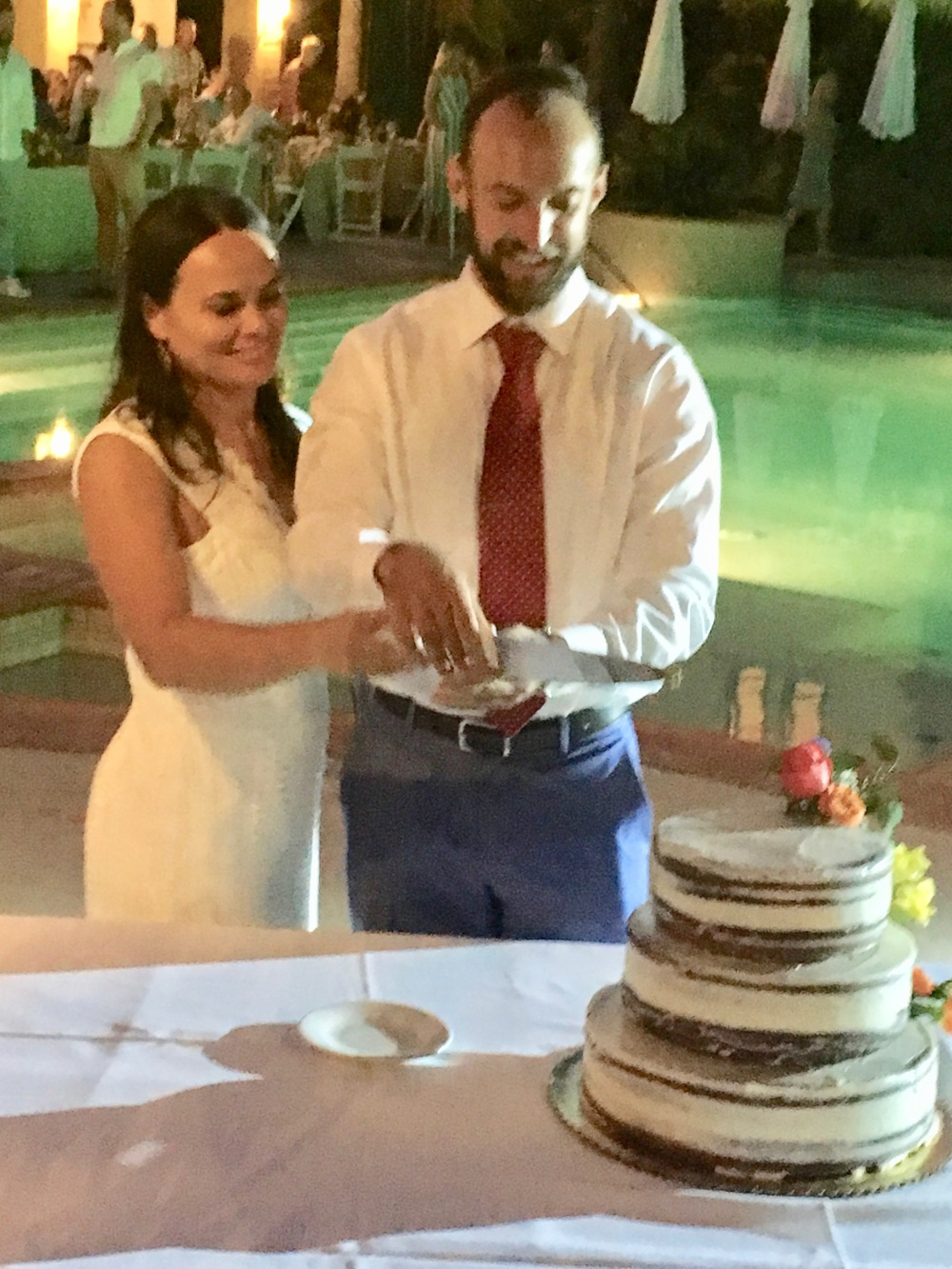 Ron and Liz Cutting the Cake (Smiling)